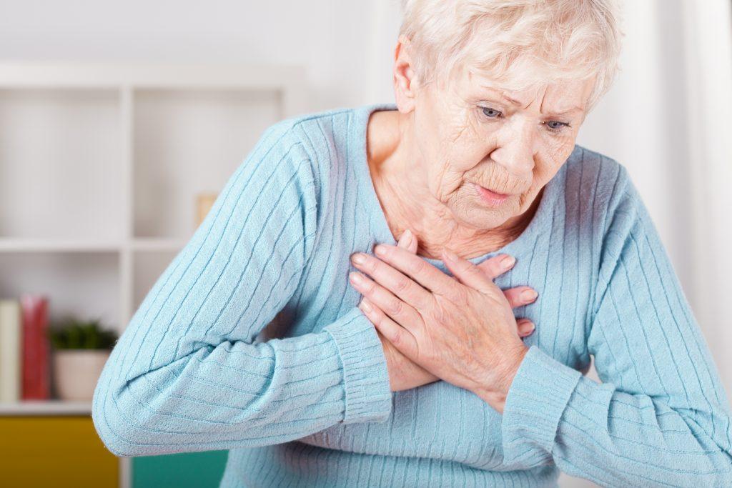 Pijn op de borst bij een vrouw